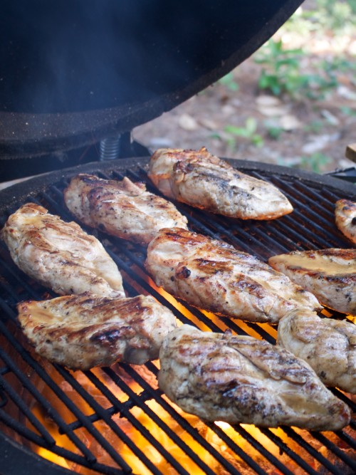 grilled chicken on the grill getting brushed with sauce