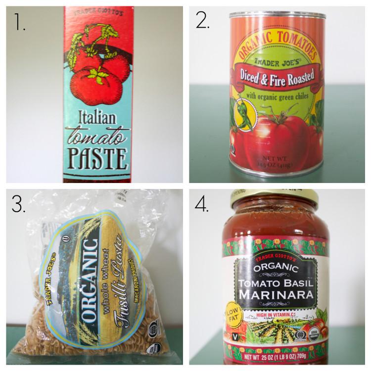 tomato paste, roasted tomatoes with green chiles, whole wheat rotini, and tomato basil marinara