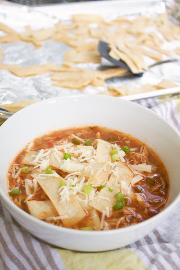 Crockpot Chicken Tortilla Soup (with crunchy baked tortilla strips).