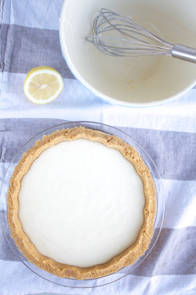 easy lemon pie ready for the oven