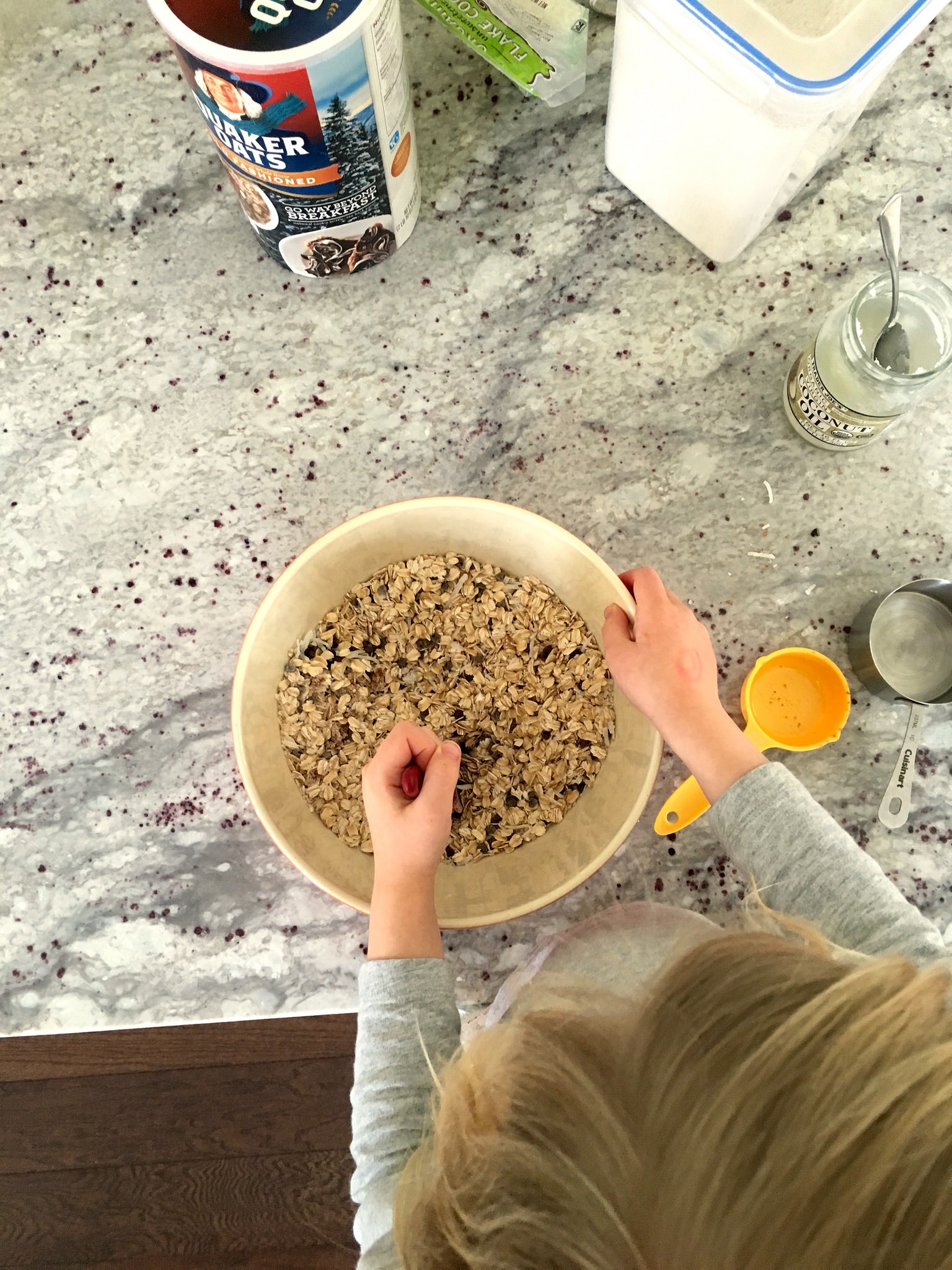 mixing up chocolate chip granola bars - kindness antennae