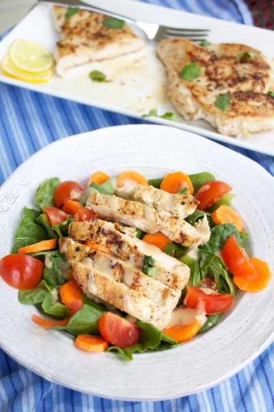 quick & easy pan-seared chicken on a salad