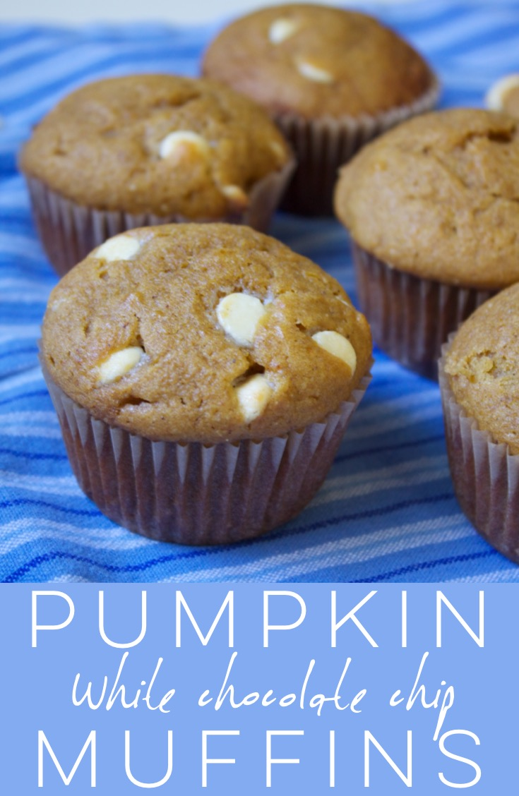 Pumpkin white chocolate chip muffins are moist and cakey, warmly spiced, and studded with white chocolate chips for extra sweetness.