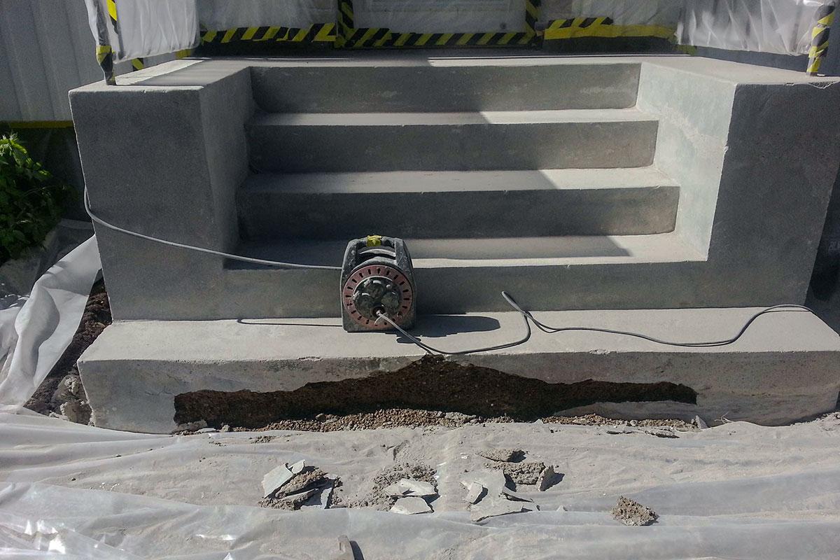 Slipad betongtrappa Bromma