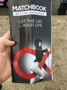 Matchbook advertising in the Sandown Guide. Get the Lay of your Life. Worth opening an account just for their sense of humour.