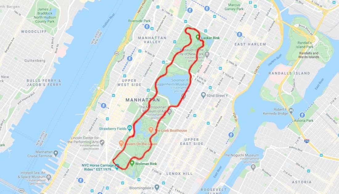 6.2 Mile Central Park Route