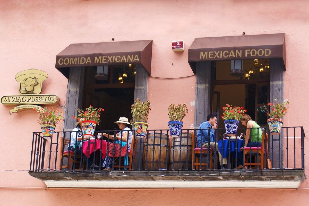 Comida Mexicana, Aussichtsbalkon eines mexikanischen Restaurants in Puebla