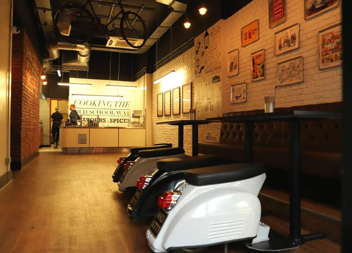 The modern interior of the restaurant Bombayrotti