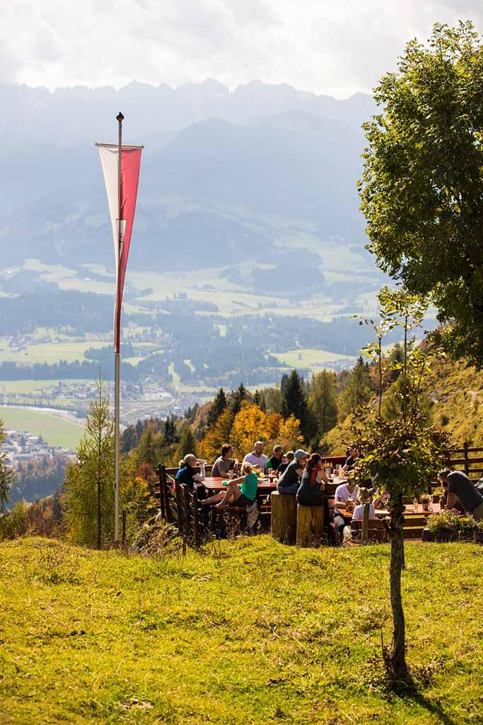 Blick von der Taubenseehütte zum Kaisergebirge