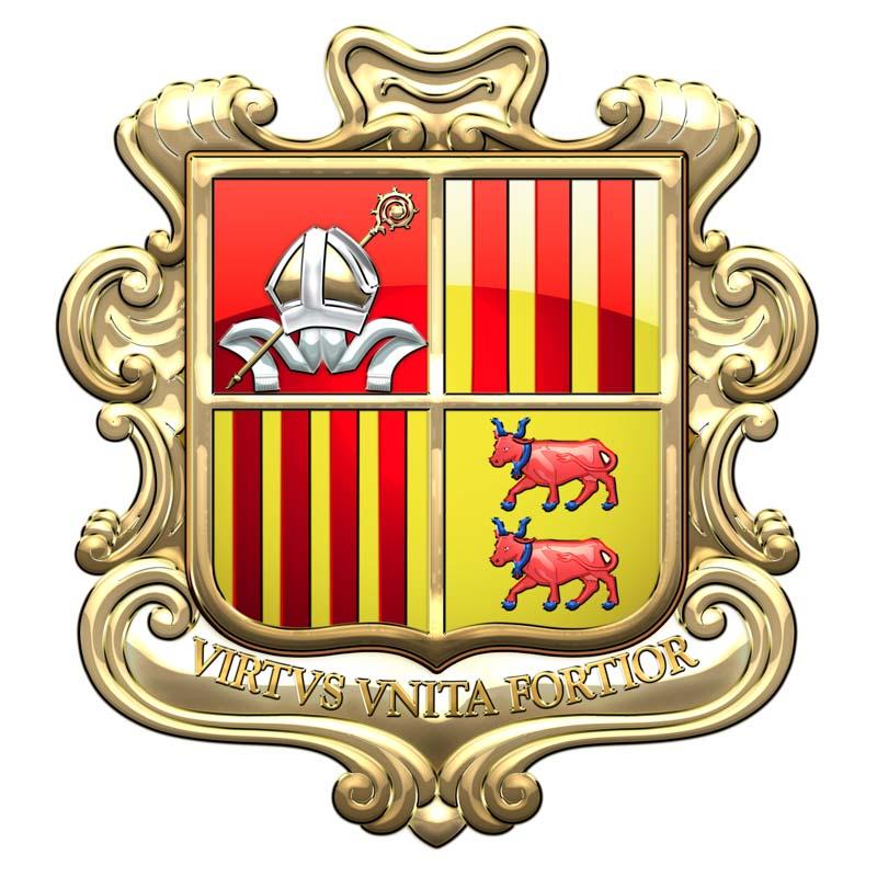 Das Staatswappen von Andorra