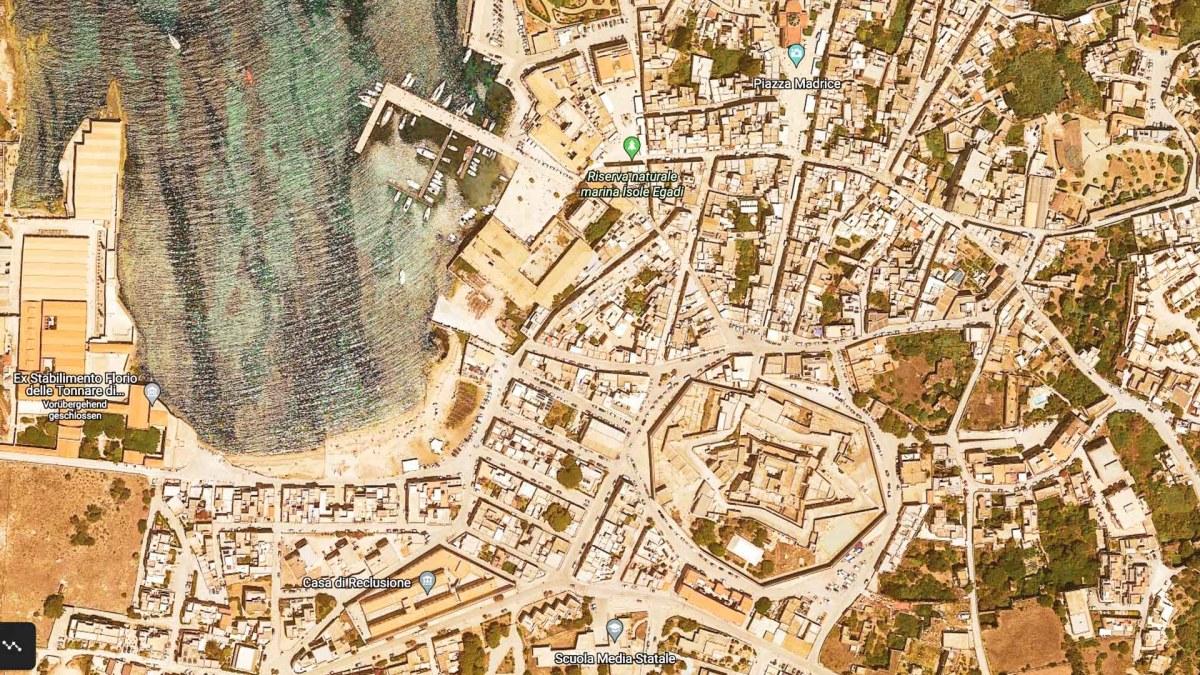 Favignana Vogelperspektive, © Google Earth