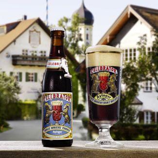 Celebrator-Bierflasche und Glas