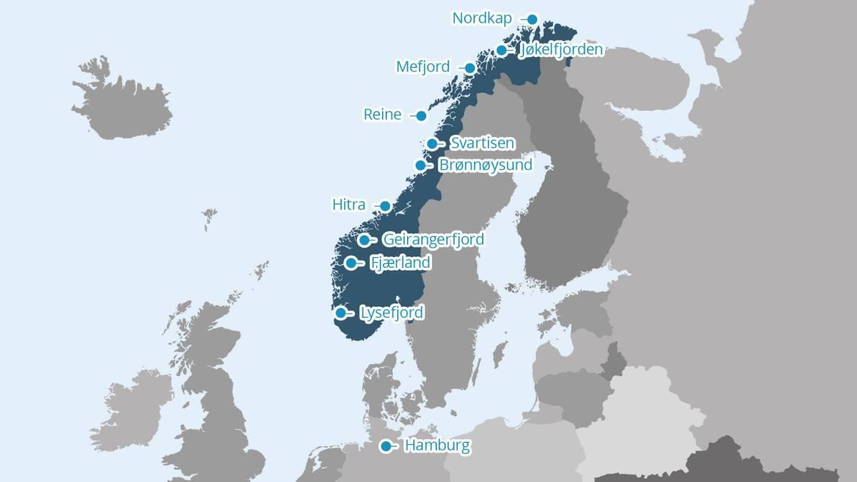 Norwegen Karte Hurtigruten Nordkap