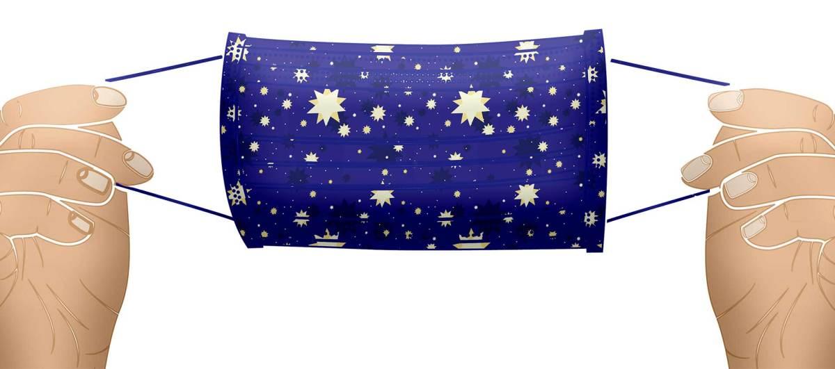 covid 19 moon stars maske