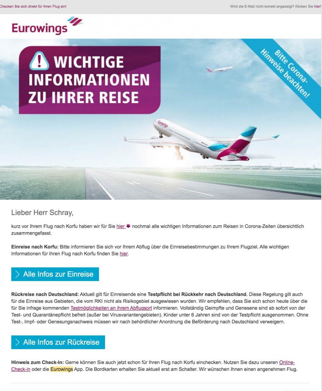 Eurowings Fluginformationen