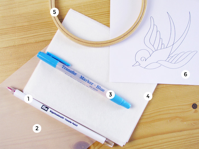Tools to transfer the drawing to a fabric and embroider    Betsy Sewing