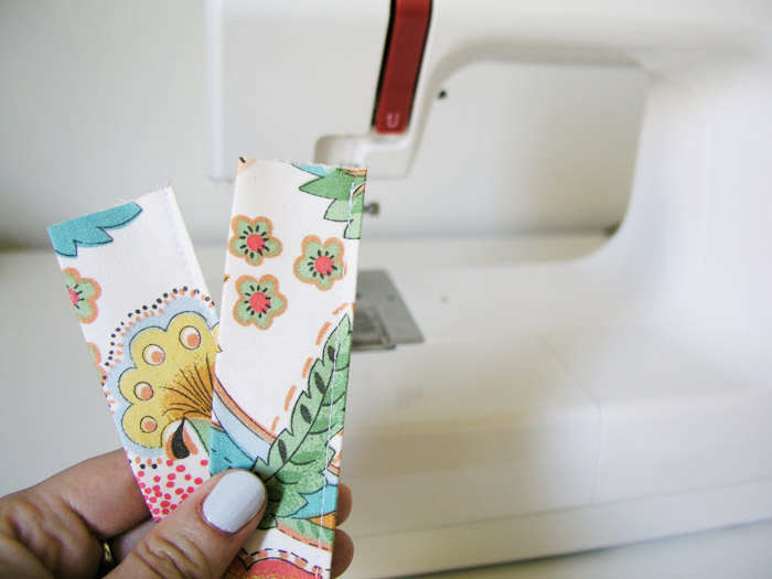 Sew on the fold side of the handle |  Betsy Sewing