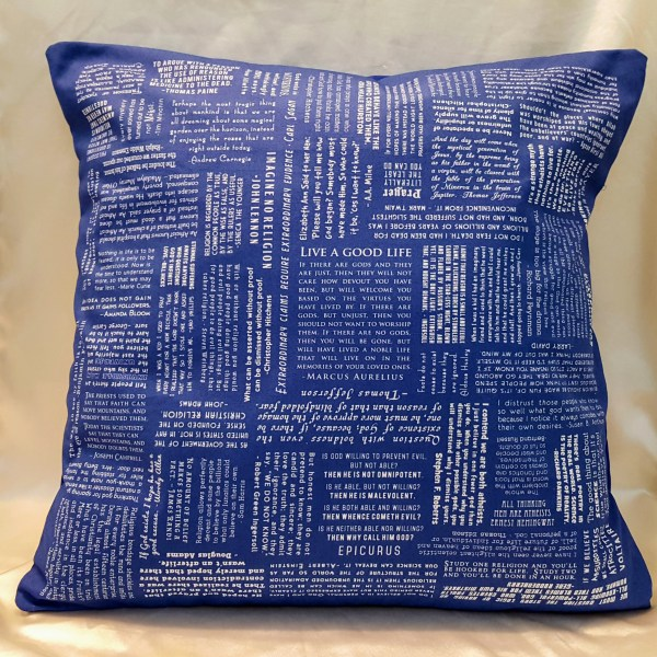 blue atheist quotes throw pillow