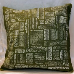 green cushion cover with atheist quotes