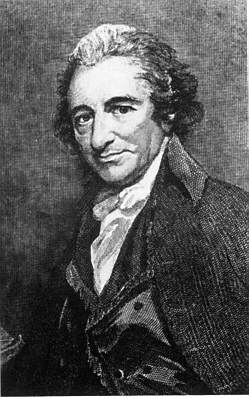 Black and White image of Thomas Paine. Thomas has a receding hairline. His nose is prominent.  Thomas is not smiling and is wearing a formal  cape with a high collar and a white cravat. His coat is double breasted.
