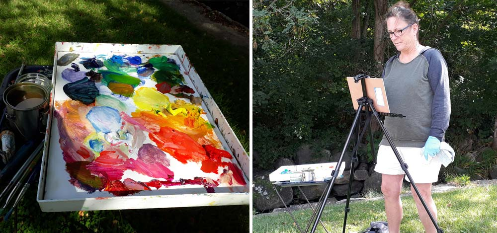 Betsy Painting Outside on a Easel