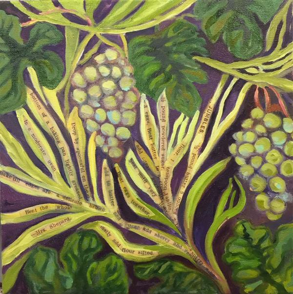 Fruit and branches oil painting