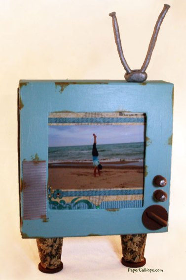 Altered art and mixed media retro TV frame and shadow box by Paper Calliope