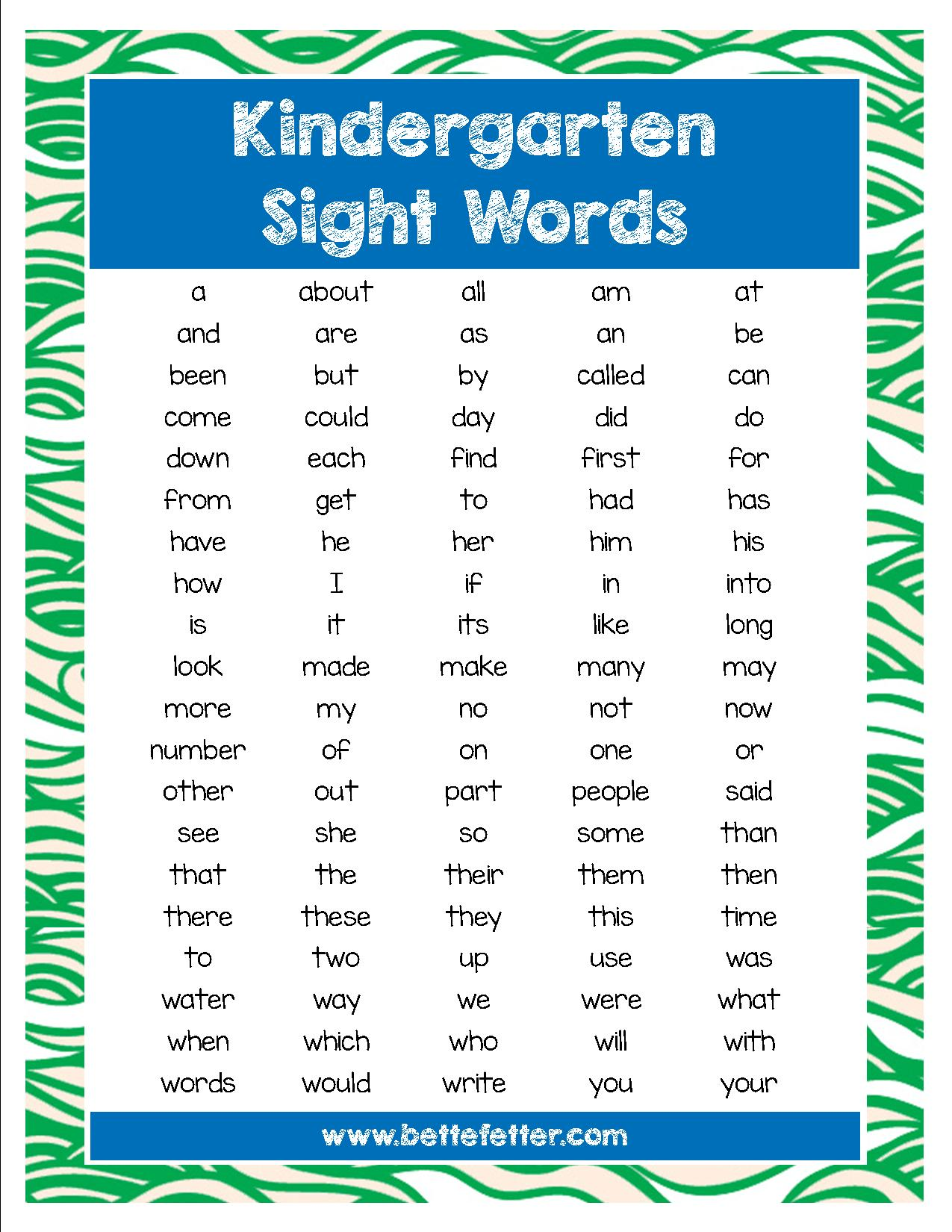 Activities For Kids Sight Words