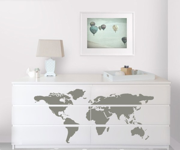 Dresser Decor White Chest of Drawers World Map Decal Table Lamp Vanity Tray Wall Art DIY
