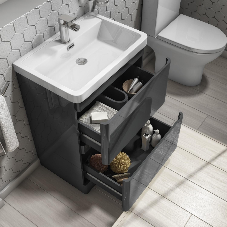 800mm dark grey freestanding vanity unit with basin portland