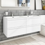1200mm Wall Hung 4 Drawer Double Vanity Unit With Double Basin White Boston Better Bathrooms