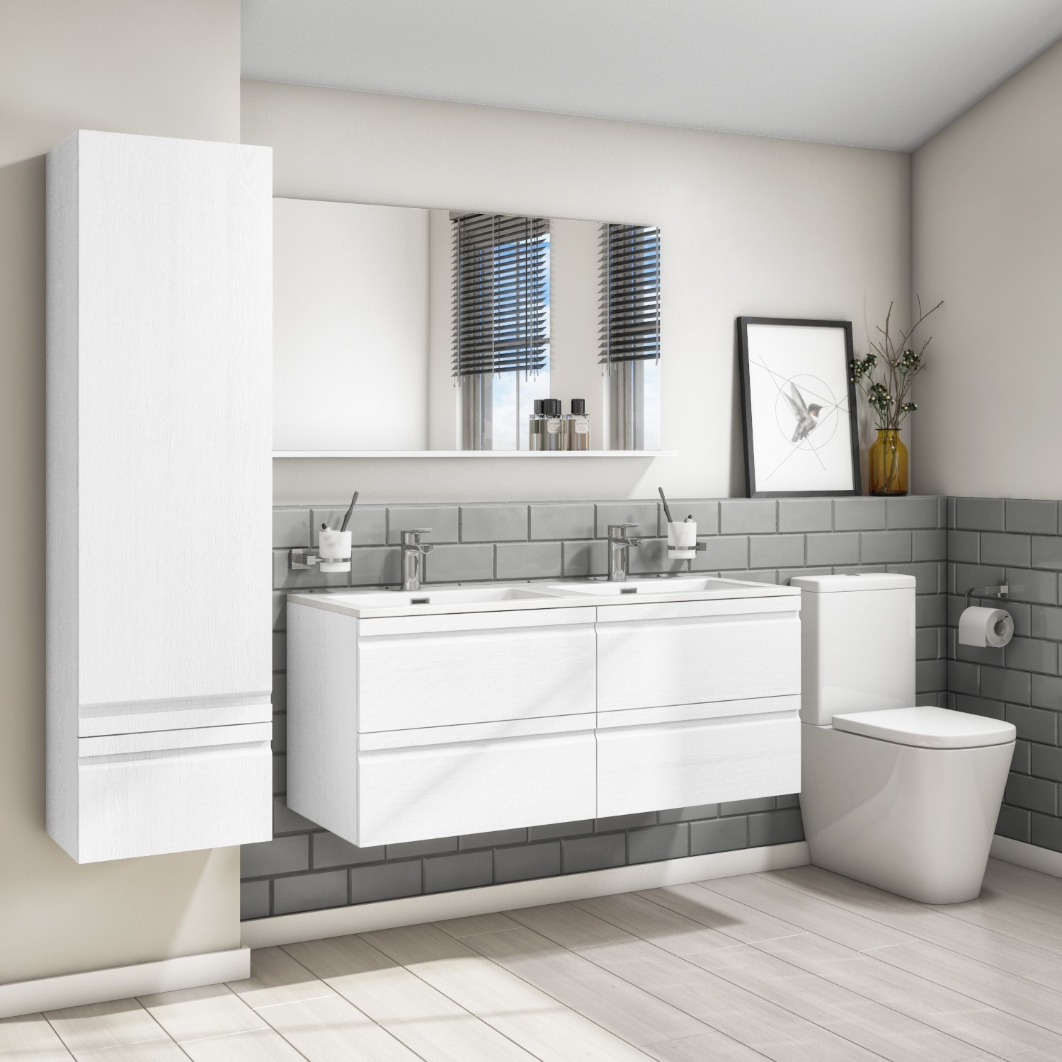 1200mm white wall hung double vanity unit with basin boston