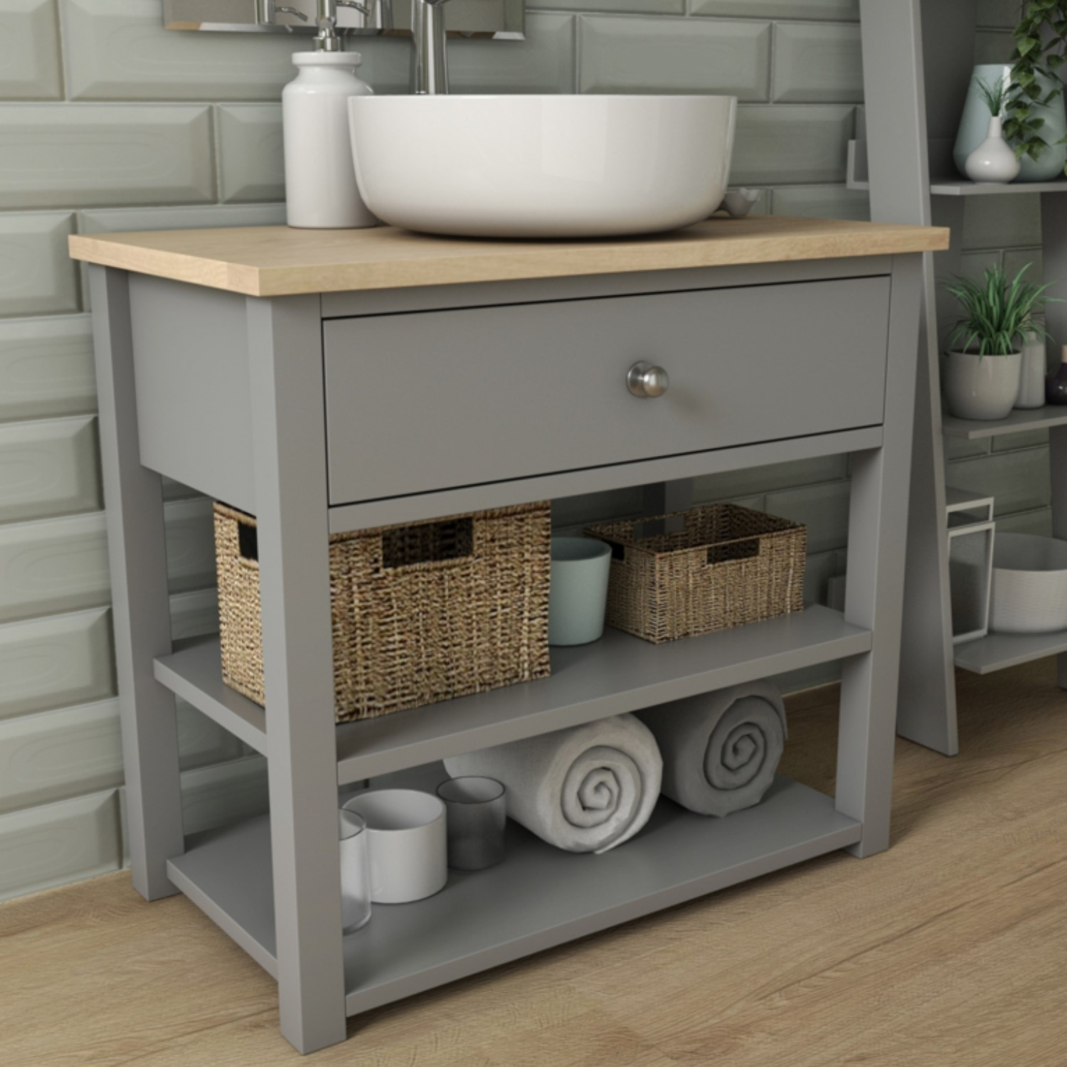 840mm open storage vanity unit with arabella countertop basin whitby