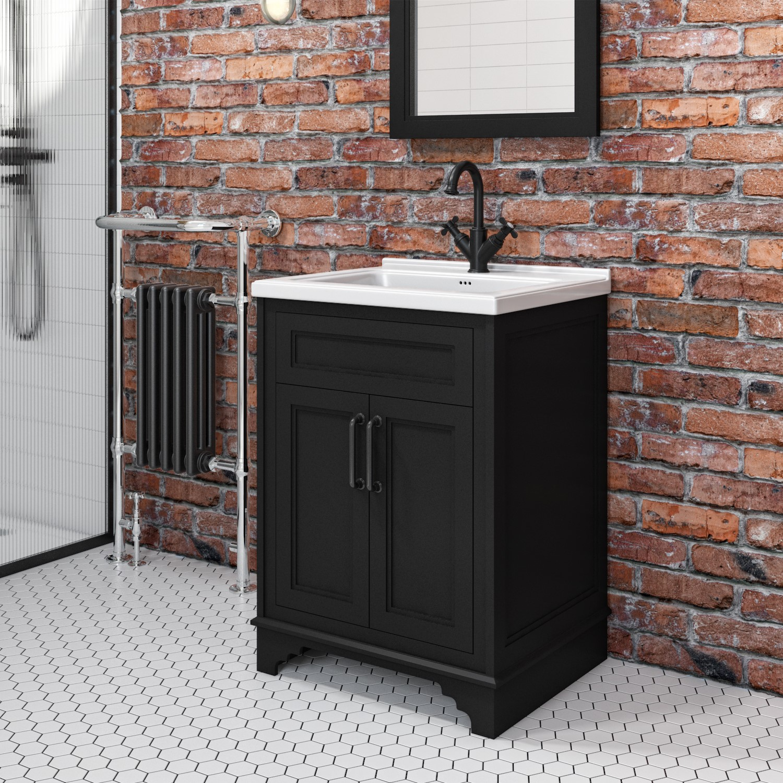 600mm black freestanding vanity unit with basin camden