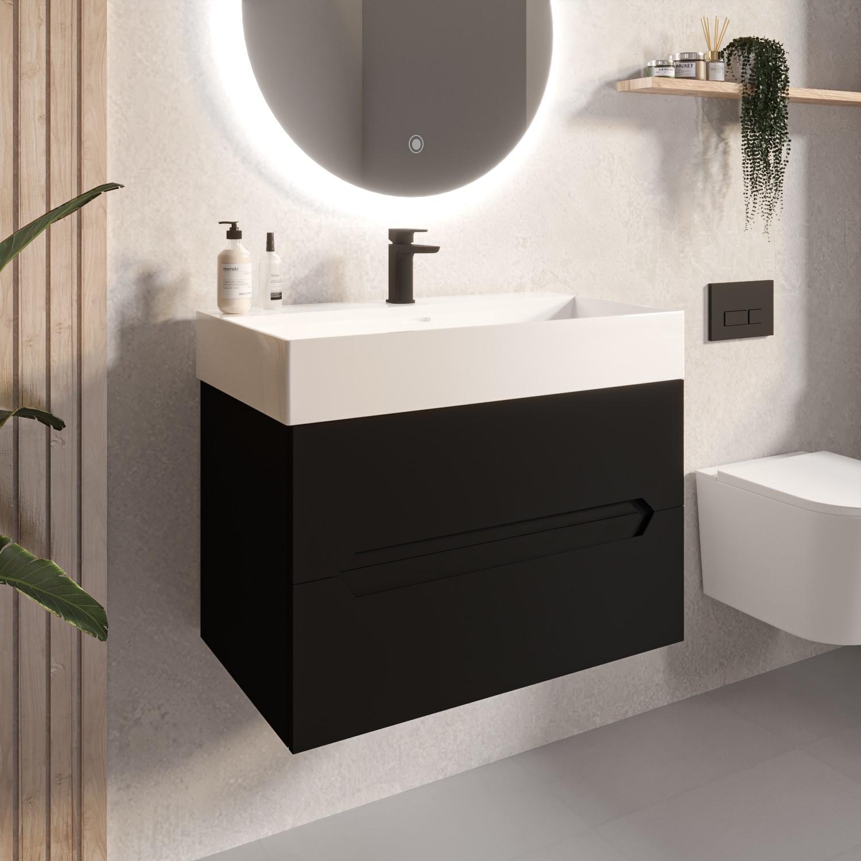 800mm black wall hung vanity unit with basin morella