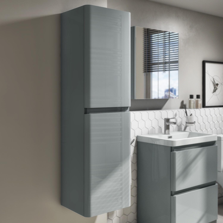 Cabinets Cupboards Grey High Gloss Bathroom Cabinet Wall Mounted Storage Cupboard Furniture Unit Home Furniture Diy Tallergrafico Com Uy