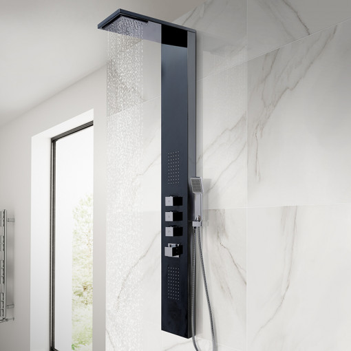 Aspire Black Thermostatic Shower Tower Panel