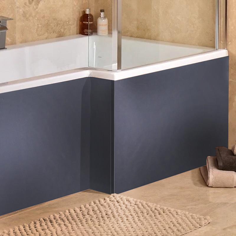 Windsor Cuba Aspen Grey 1700 MDF L Shaped Shower Bath