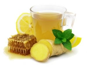 Hot ginger tea with lemon and honey