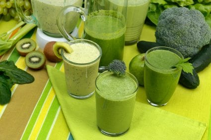 Green smoothies made of fresh vegetables and fruits