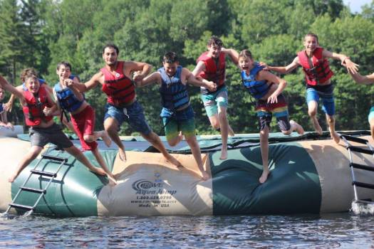 Camp Timberlane jumping in the lake