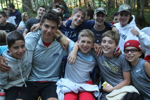 Camp Timberlane boys with councilor having fun