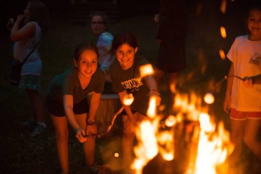 Camp Schodack fireplace & smores