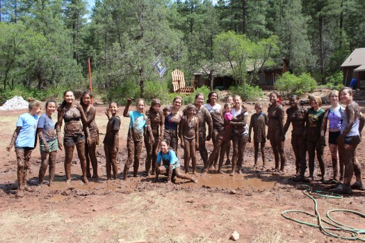 playing in the mud on summer camp
