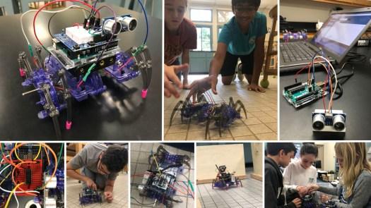 children learning robotics at summer camp