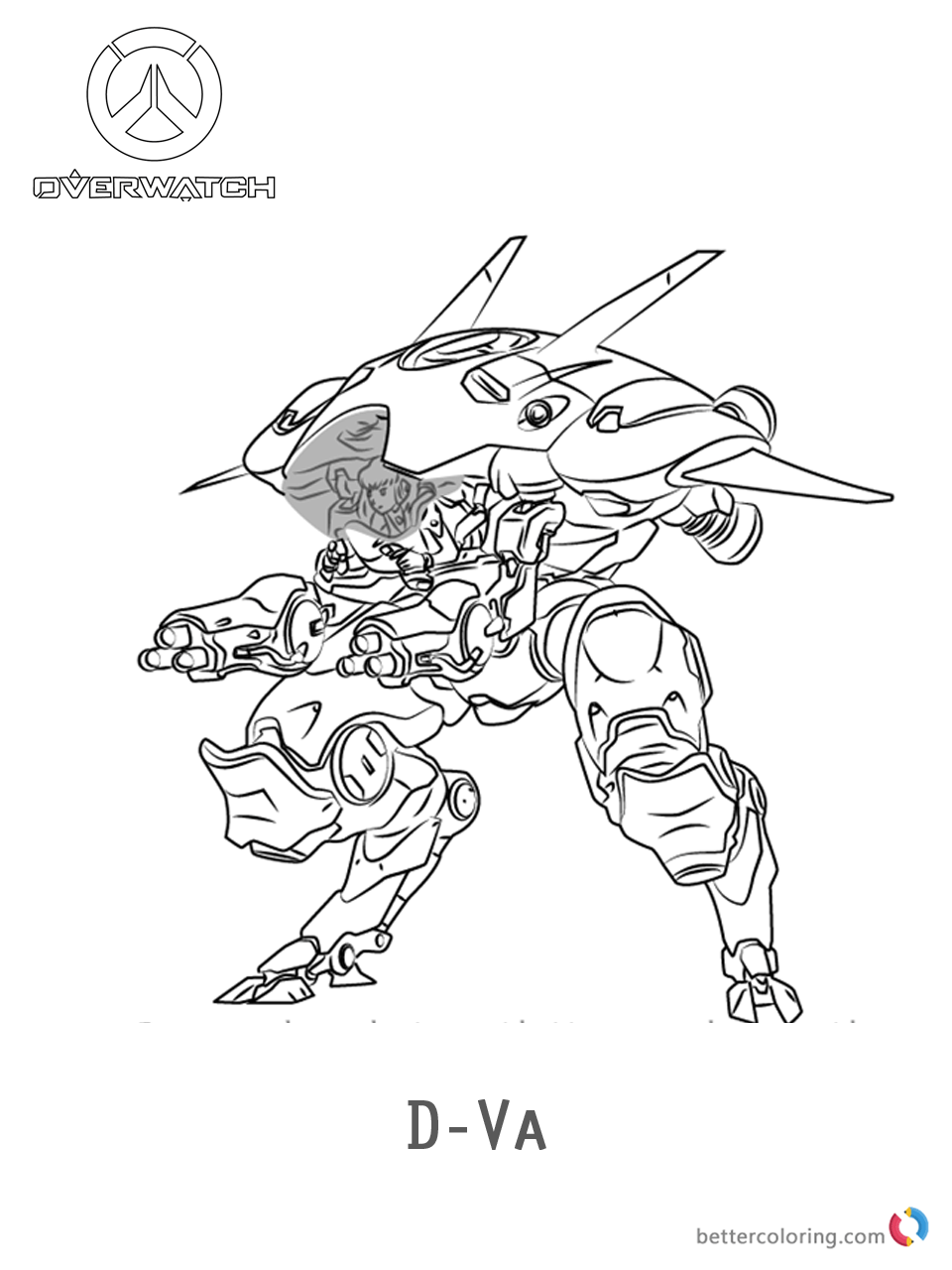 DVa From Overwatch Coloring Pages Free Printable
