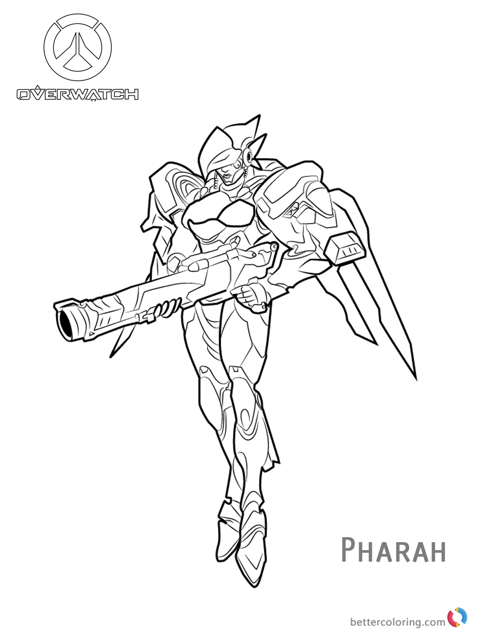 Pharah From Overwatch Coloring Pages Free Printable