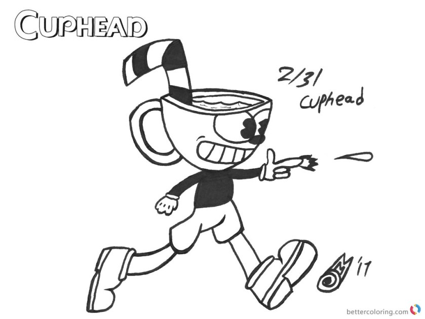 cuphead coloring pages inktober cuphead shooting  free