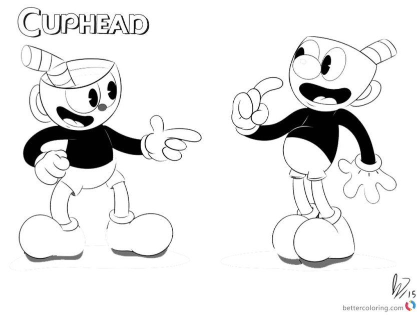 cuphead and mugman from cuphead coloring pages black and