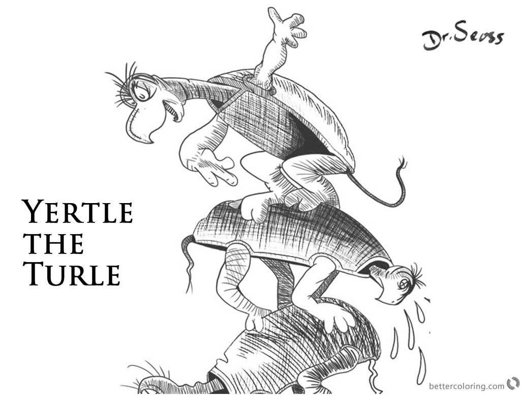 Dr Seuss Yertle The Turtle Coloring Pages Black And White